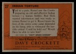 1956 Topps Davy Crockett #27 ORG  Indian Torture  Back Thumbnail