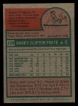 1975 Topps #229  Barry Foote  Back Thumbnail