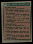 1975 Topps #201   -  Sandy Koufax / Elston Howard 1963 MVPs Back Thumbnail