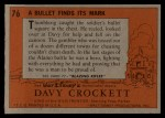 1956 Topps Davy Crockett #76 ORG  Bullet Finds Its Mark  Back Thumbnail