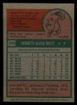 1975 Topps #250  Ken Brett  Back Thumbnail