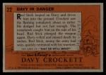 1956 Topps Davy Crockett #22 ORG  Davy in Danger  Back Thumbnail