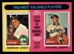 1975 Topps #201   -  Elston Howard / Sandy Koufax 1963 MVPs Front Thumbnail