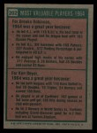 1975 Topps #202   -  Brooks Robinson / Ken Boyer 1964 MVPs Back Thumbnail
