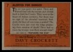 1956 Topps Davy Crockett #7 ORG  Alerted For Danger  Back Thumbnail