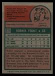 1975 Topps #223  Robin Yount  Back Thumbnail