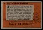 1956 Topps Davy Crockett #51 ORG  -     Col. Crockett Reporting  Back Thumbnail