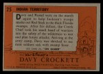 1956 Topps Davy Crockett #25 ORG  Indian Territory  Back Thumbnail