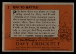 1956 Topps Davy Crockett #3 ORG  Off to Battle Back Thumbnail