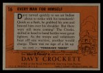 1956 Topps Davy Crockett #16 ORG  Every Man for Himself  Back Thumbnail
