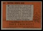 1956 Topps Davy Crockett #63 ORG  Keeping Spirits High  Back Thumbnail