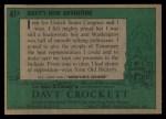 1956 Topps Davy Crockett #41 GRN  Davy's New Adventure  Back Thumbnail