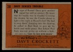 1956 Topps Davy Crockett #28 ORG  -    Davy Senses Trouble  Back Thumbnail