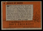 1956 Topps Davy Crockett #9 ORG  Dance of Death  Back Thumbnail