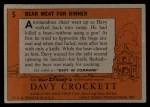 1956 Topps Davy Crockett #5 ORG  Bear Meat For Dinner  Back Thumbnail