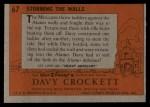 1956 Topps Davy Crockett #67 ORG  -     Storming The Walls  Back Thumbnail