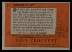 1956 Topps Davy Crockett #21 ORG  Savage Chief  Back Thumbnail