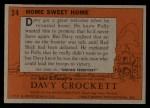 1956 Topps Davy Crockett #24 ORG  Home Sweet Home  Back Thumbnail