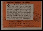 1956 Topps Davy Crockett #4 ORG  Sentry! Where's Crockett    Back Thumbnail
