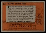 1956 Topps Davy Crockett #63 ORG  Keeping Spirits High  Back Thumbnail