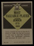 1961 Topps #476   -  Jackie Jensen Most Valuable Player Back Thumbnail