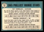 1965 Topps #107   -  Pat Corrales / Costen Shockley Phillies Rookies Back Thumbnail
