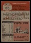 1953 Topps #33  Bob Kennedy  Back Thumbnail