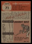 1953 Topps #71  Tony Bartirome  Back Thumbnail
