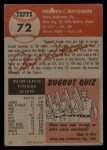 1953 Topps #72  Fred Hutchinson  Back Thumbnail