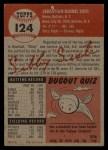 1953 Topps #124  Sibby Sisti  Back Thumbnail