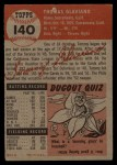 1953 Topps #140  Tommy Glaviano  Back Thumbnail