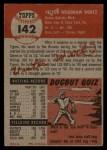 1953 Topps #142  Vic Wertz  Back Thumbnail