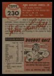 1953 Topps #230  Johnny Lindell  Back Thumbnail