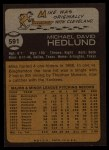 1973 Topps #591  Mike Hedlund  Back Thumbnail