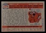 1957 Topps #379  Don Lee  Back Thumbnail