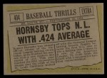 1961 Topps #404   -  Rogers Hornsby Tops NL With .424 Average Back Thumbnail