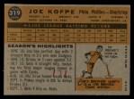 1960 Topps #319  Joe Koppe  Back Thumbnail