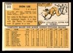 1963 Topps #372 FUL Don Lee  Back Thumbnail
