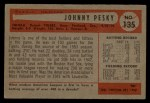 1954 Bowman #135  Johnny Pesky  Back Thumbnail