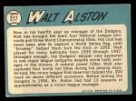 1965 Topps #217  Walter Alston  Back Thumbnail