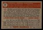 1952 Topps #29 RED Ted Kluszewski  Back Thumbnail