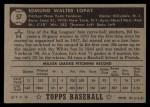 1952 Topps #57 BLK Eddie Lopat  Back Thumbnail