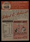 1953 Topps #168  Willard Schmidt  Back Thumbnail