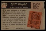 1955 Bowman #312  Bill Wight  Back Thumbnail