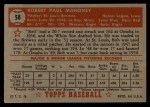 1952 Topps #58 RED Bob Mahoney  Back Thumbnail