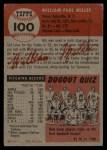 1953 Topps #100  Bill Miller  Back Thumbnail