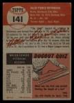 1953 Topps #141  Allie Reynolds  Back Thumbnail