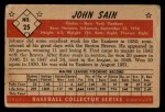 1953 Bowman B&W #25  Johnny Sain  Back Thumbnail