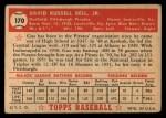 1952 Topps #170 CRM Gus Bell  Back Thumbnail