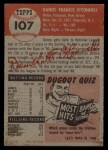 1953 Topps #107  Danny O'Connell  Back Thumbnail